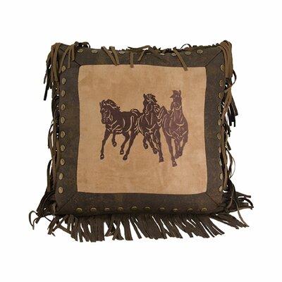 Wolfe Horse Embroidered Running Throw Pillow