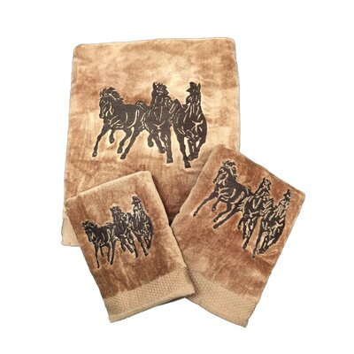Signal Hill Horse 3 Piece Towel Set Color: Cream