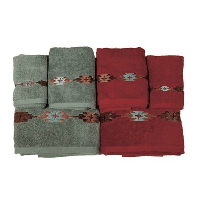 Navajo 3 Piece Towel Set Color: Red