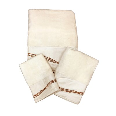 Galyean Embroidered 3 Piece Towel Set Color: Cream