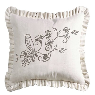Cathey Linen Weave Ruffled Throw Pillow