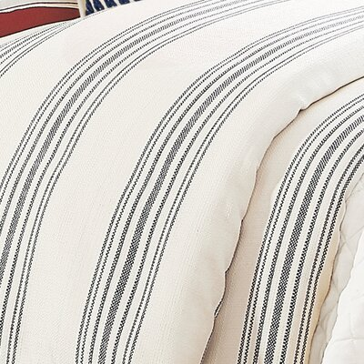 Malabar Stripe Duvet Cover Color: Navy, Size: Queen