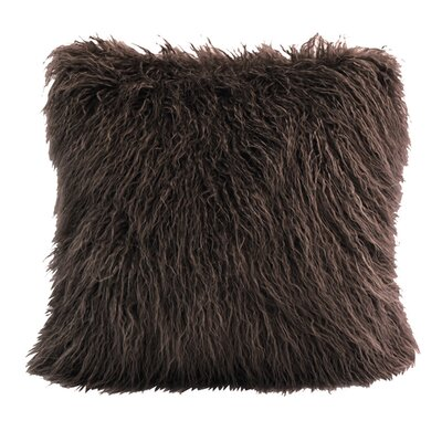 Odonnell Mongolian Faux Fur Throw Pillow Color: Chocolate