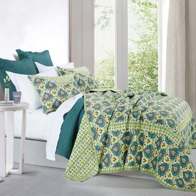 Koah 100% Cotton 3 Piece Quilt Set Size: King