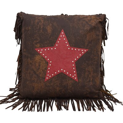 Cooley Faux Leather Throw Pillow Color: Red