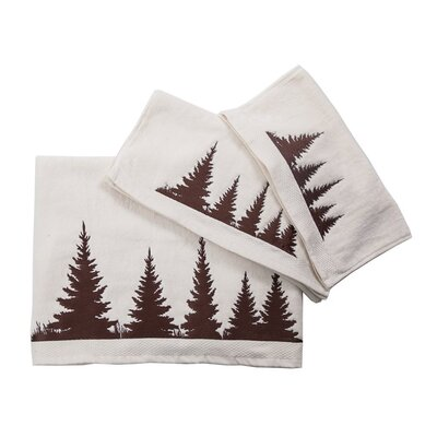 Embroidered Pines 3 Piece Towel Set Color: Cream