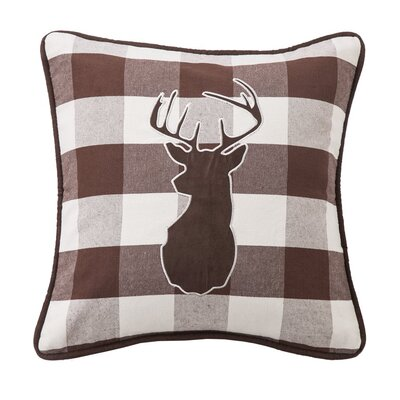 Polson Embroidered Deer on Buffalo Throw Pillow
