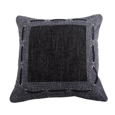 Redwood City Tweed and Chenille Throw Pillow with Framing and Laced Rope Detail