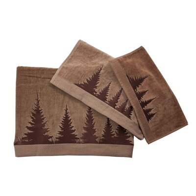 Embroidered Pines 3 Piece Towel Set Color: Mocha