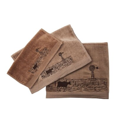 Embroidered Windmill Landscape 3 Piece Towel Set Color: Mocha