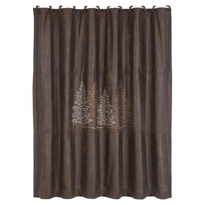 Polson Shower Curtain with Embroidered Tree Design