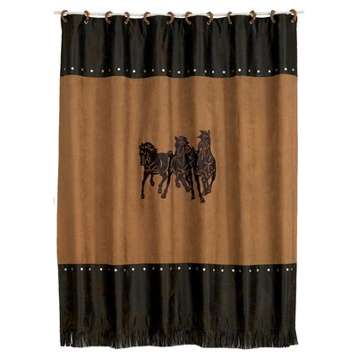 Spahn 3 Horse Embroidered Shower Curtain