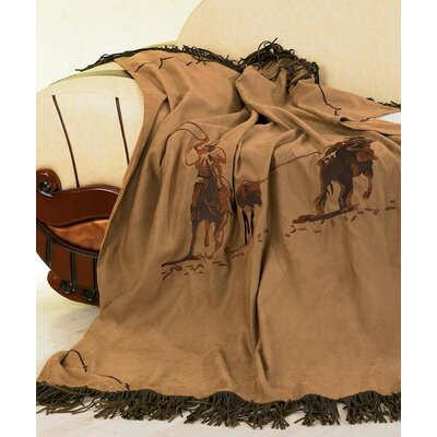 Team Roping Faux Suede Throw