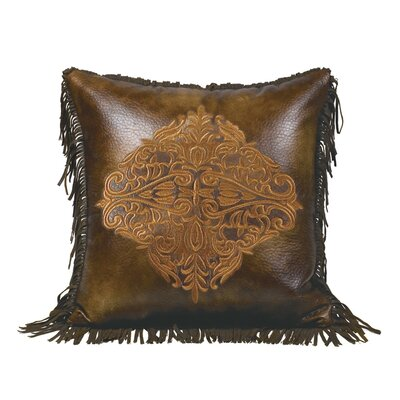 Thurlos Embroidered Faux Leather Throw Pillow