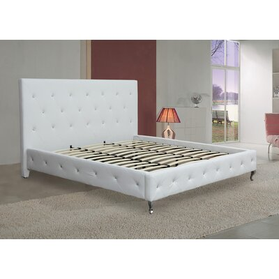 Platform Upholstered Bed Size: California King, Color: White