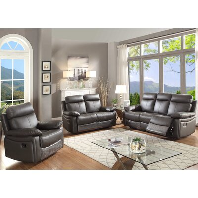Ryker 3 Piece Living Room Set Upholstery: Brown