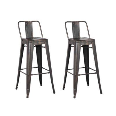 24 Bar Stool Upholstery: Sand Matte Black