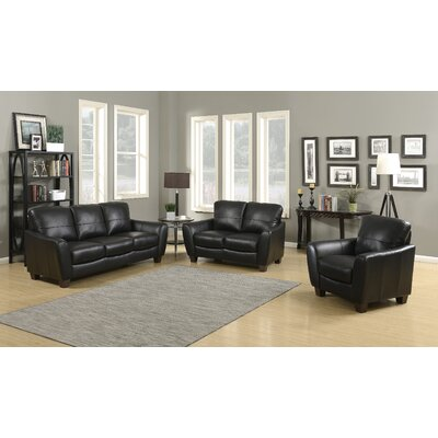 Sawyer 3 Piece Living Room Set Upholstery: Black