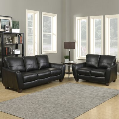 Sawyer Sofa and Loveseat Set Upholstery: Black