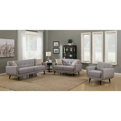 Crystal 3 Piece Living Room Set Upholstery: Gray