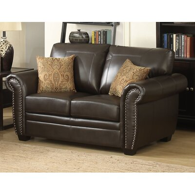 Louis Stationary Leather Loveseat