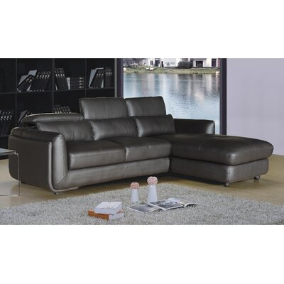 Ron Leather Reclining Sectional Orientation: Right