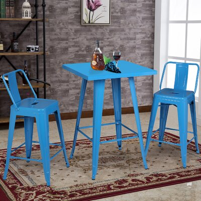 3 Piece Pub Table Set Color: Blue