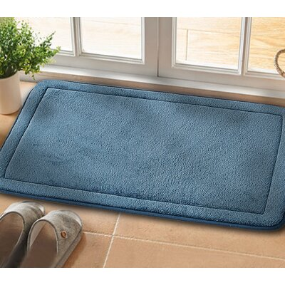 Christies Non-Slip Luxurious Memory Foam Bath Mat Color: Blue