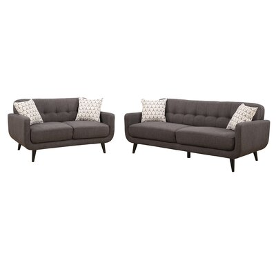 Crystal 2 Piece Living Room Set Upholstery: Charcoal