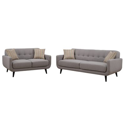 Crystal 2 Piece Living Room Set Upholstery: Gray