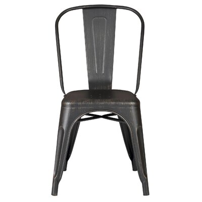 Armless Stackable Bistro Side Chair Finish: Distressed Black