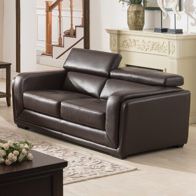Calvin Leather Loveseat