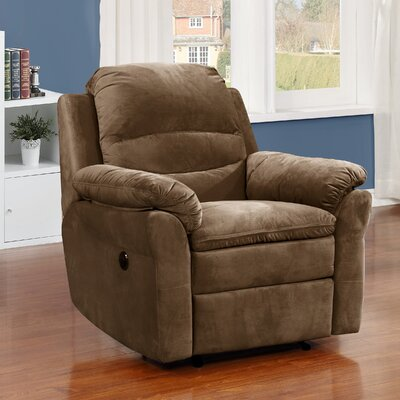 Felix Transitional Electric Power Recliner Upholstery: Brown