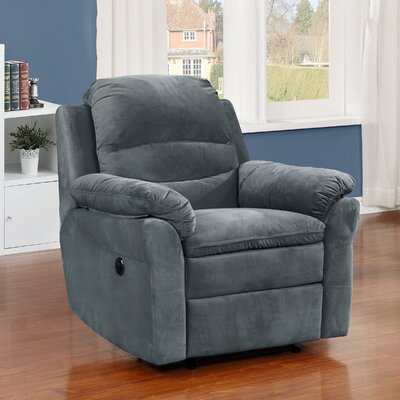 Felix Transitional Electric Power Recliner Upholstery: Dark Gray