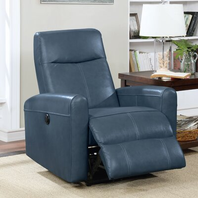 Claredon Living Room Electric Power Wall Hugger Recliner Upholstery: Navy Blue