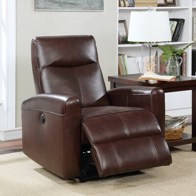 Claredon Living Room Electric Power Wall Hugger Recliner Upholstery: Brown