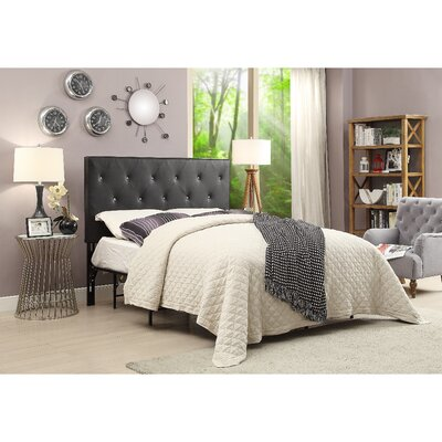 Areswell Crystal Diamond Tufted Upholstered Headboard Size: Queen, Upholstery: Black