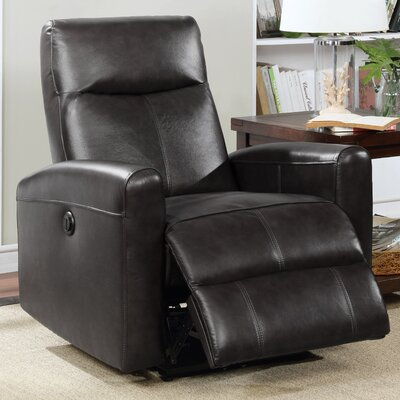 Claredon Upholstered Living Room Electric Leather Recliner Upholstery: Black