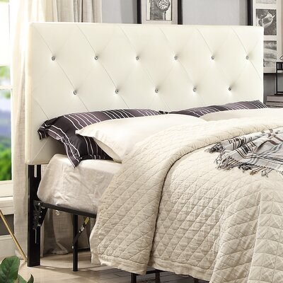 Areswell Crystal Diamond Tufted Upholstered Headboard Size: California King, Upholstery: White