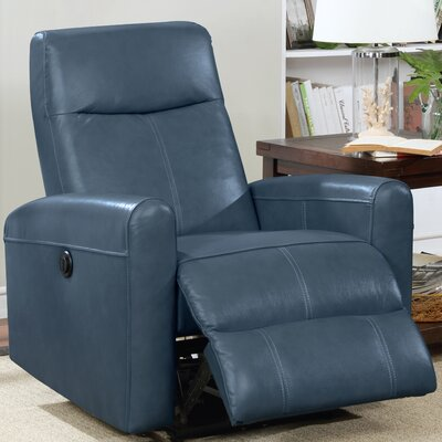 Claredon Upholstered Living Room Electric Leather Recliner Upholstery: Navy Blue