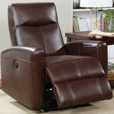Claredon Upholstered Living Room Electric Leather Recliner Upholstery: Brown