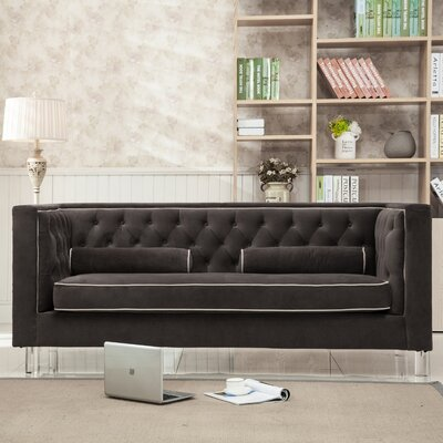 Rima Button Tufted Living Room Tuxedo Loveseat Upholstery: Brown
