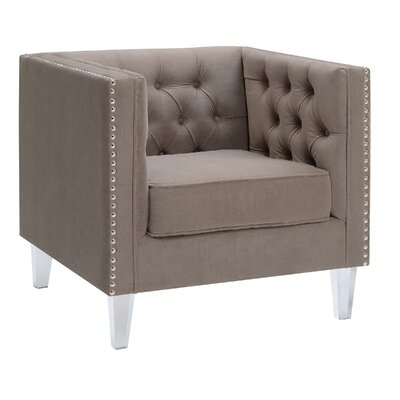 Kendra Button Living Room Tuxedo Armchair Upholstery: Taupe