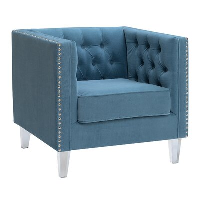 Kendra Button Living Room Tuxedo Armchair Upholstery: Teal