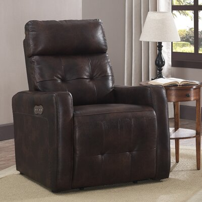 Petersburg Leather Power Recline No Motion Recliner Upholstery: Brown