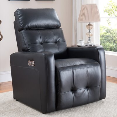 Petersburg Leather Power Recline Upholstery: Black
