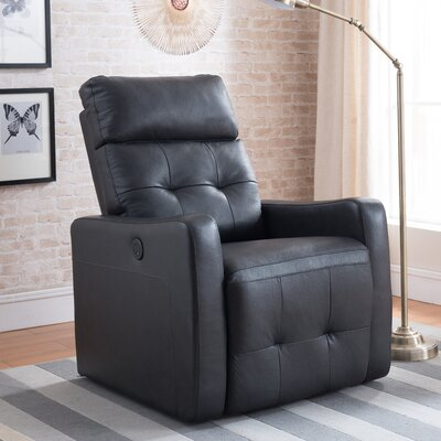 Pierce Leather Power Recline No Motion Recliner Upholstery: Black