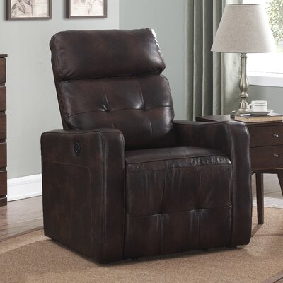 Pierce Leather Power Recline No Motion Recliner Upholstery: Brown