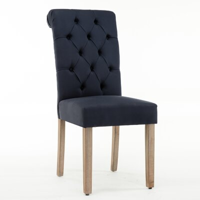 Christies Roll Top Tufted Modern Upholstered Dining Chair Upholstery: Blue