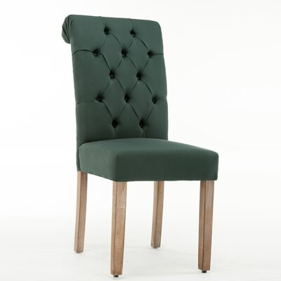 Christies Roll Top Tufted Modern Upholstered Dining Chair Upholstery: Green